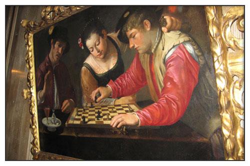 La Partie d'échecs, toile actuellement exposée dans le salon de musique du 1728